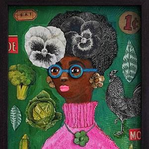 Wind Riders YA Novel, Abeje Portrait , 3 D portrait of black woman by Adrienne Geoghegan