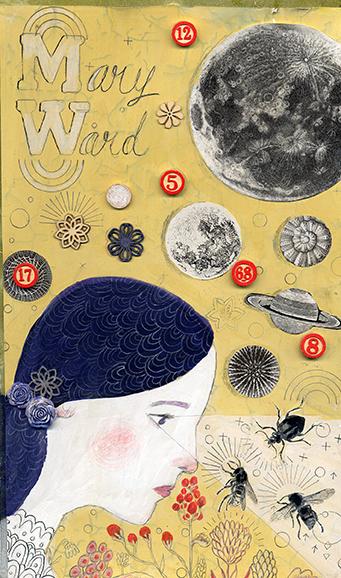 Collage art portrait of MARY WARD, Irish Scientist by Adrienne Geoghegan